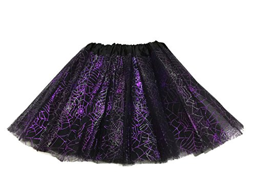 Rush Dance Ballerina Recital Halloween Purple & Black Spider Webs Costume Tutu
