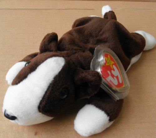 TY Beanie Babies Bruno the Dog Stuffed Animal Plush Toy - 8 inches long - Brown and White - 1