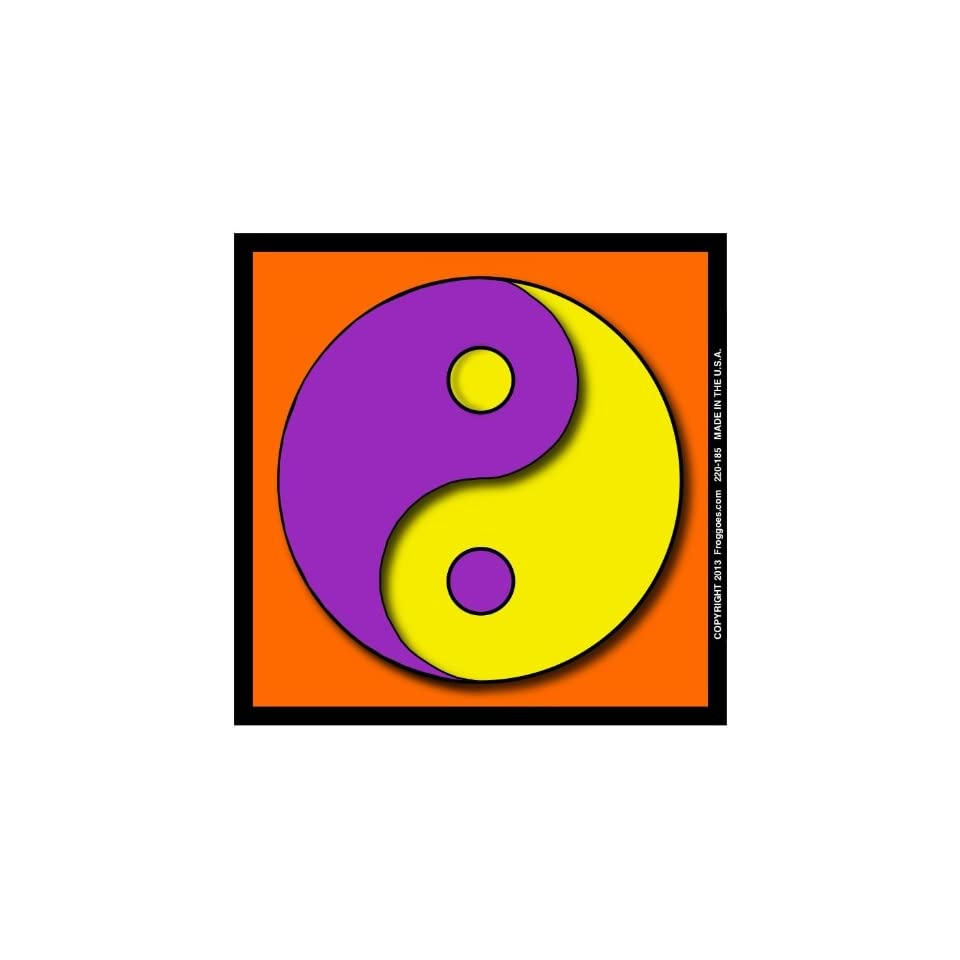 YING YANG   PURPLE/YELLOW WITH ORANGE BACKGROUND   STICK ON CAR DECAL SIZE 3 1/2 x 3 1/2   VINYL DECAL WINDOW STICKER   NOTEBOOK, LAPTOP, WALL, WINDOWS, ETC. COOL BUMPERSTICKER
