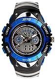 【貞恵】TEIKEI 腕時計 子供用スポーツウォッチ 多機能 デュアルタイム アナデジ表示 0998 ブルー ランキングお取り寄せ