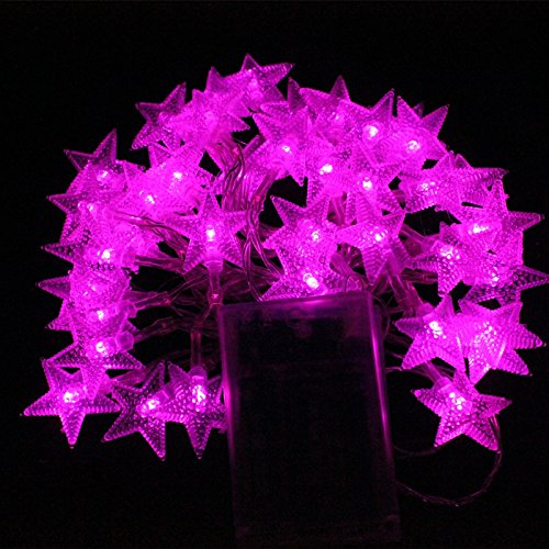Makerfire 5M 50 Led Fairy String Light Battery Operated Five-Pointed Star Styled For Outdoor And Indoor Use (Fushia)