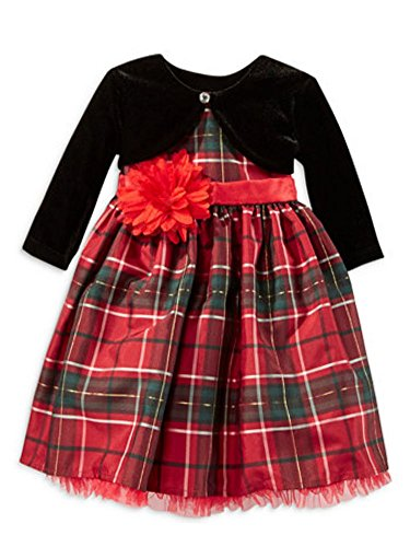 Blueberi Infant & Toddler Girls Red Plaid Flower Party Dress & Holiday Capelet