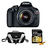 Canon EOS Digital Rebel T5 18MP SLR Digital Camera Bundle includes: Camera, EF-S 18-55mm IS II Kit, 32GB Professional 633x SDHC Class 10 UHS-I/U3 Memory Card Up to 95 Mb/s, Gadget Bag, Microfiber Cleaning Cloth
