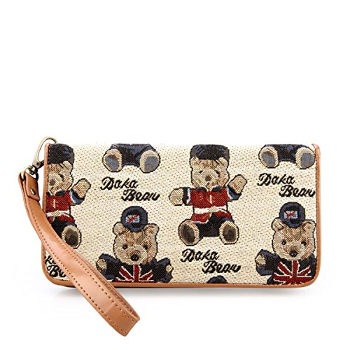 Daka Bear Jazz Bear Beige Zipper Wallet Girl Clutch Bag Cash Purse