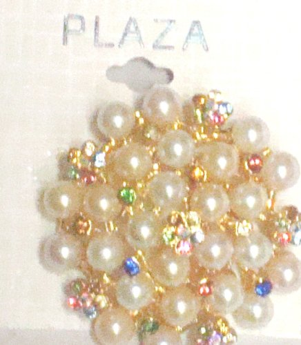 Ivory Pearls Simulated Jewels Crystals on Gold Plated Pin Brooch