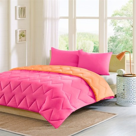 Intelligent Design Trixie Reversible Down Alternative Comforter Mini Set - Pink - Twin/Twin Xl