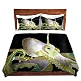 Duvet Cover Brushed Twill Twin, Queen, King SETs from DiaNoche Designs by Marley Ungaro Unique Home Decor and Designer Bedding Ideas - Deep Sea Life- Octopus