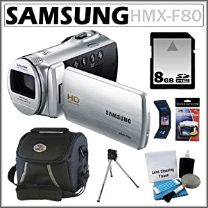 Samsung HMX-F80 HD Camcorder with 52x Optical Zoom and 2.7-inch LCD in Silver + Samsung 8GB SDHC + Accessory Kit