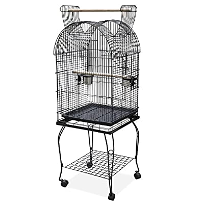 Poamazing Large Pet Bird Budgie Canary Aviary Parrot Cage Open Top Perches Stand Cage