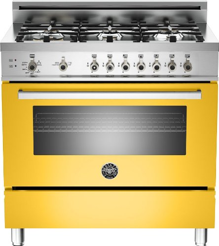 Pro366Gasgilp | Bertazzoni Professional 36 Gas Range, 6 Burners, Liquid Propane - Giallo Yellow