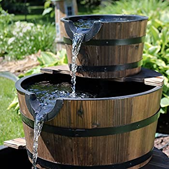 Sunnydaze 3-Tier Wood Barrel Water Fountain, Outdoor Patio and Backyard Waterfall Feature, Rustic, 30 Inch