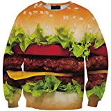JOYHY Women's Pullover Emoji Skeleton Digital 3D Printed Sweatshirt Hoodies Hamburger T195