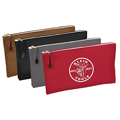 Klein Tools 5141 Zipper Bags-Canvas, 4-Pack,Red, Gray, Black, Brown (Klein Tool Bag Canvas compare prices)