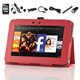 "Pandamimi ULAK(TM) Folio Magnetic Stand PU Leather Case Cover with Auto Wake/Sleep Smart Cover Function for Amazon Kindle Fire HD 7"" inch with 9in1 Accessories - Screen Protector Cleaning cloth Application Headphone USB Cable Car Charger Touch Stylus Earphone splitter cable (1 in 2 out) Fishbone Shape Earphone Cord Winder (Red)"