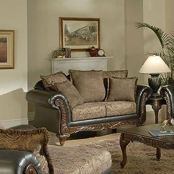 Upholstered Loveseat Fabric: San Marino Chocolate /Silas Raisin