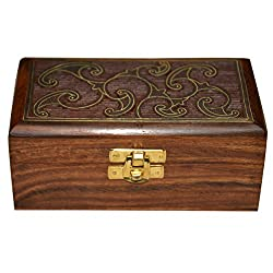Handmade Jewellery Box Rectangular Shape Wood Carving with Brass Inlay Design