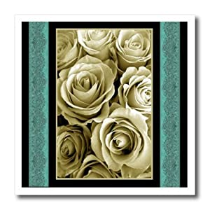 3dRose ht_29839_1 Vintage Cream Rose Bouquet Surrounded by Tiffany Blue Damask-Iron on Heat Transfer for White Material, 8 by 8-Inch