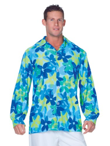 [Underwraps Men's Plus-Size 60's Flowers Shirt, Blue/Green, XX-Large] (Mens Halloween Costume Ideas Last Minutes)