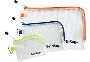 Organizer Storage Packing Bags by GoToBag - Solid PVC Mesh Plastic with Zipper Closure and Carabiner - 3-Pack Pouch for Travel, Office, School, Cable Management - Water Resistant Clear Envelope Containers in Small, Medium & Large Sizes - Ideal for Toiletry, Tools, Arts & Crafts Supplies, Purse Insert, Personal, Gym Gear, Equipment, Beach and more - 100% Satisfaction Guarantee