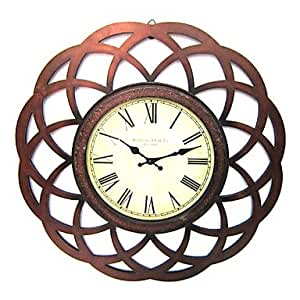 24 H Antique Floral Metal Wall Clock Kitchen Home