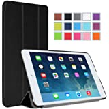 MoKo Apple iPad Mini 3, 2 and 1 Case - Ultra Slim Smart-shell Stand Cover Case with Rubberized back for Mini3 (2014 edition with Touch ID), Mini2 (2013 model with Retina Display) and Mini (2012 1st gen), BLACK (With Smart Cover Auto Wake / Sleep)