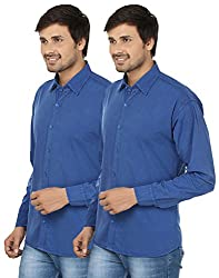 FOCIL Blue Cotton Blend Casual Combo Shirt For Men (Pack of 2)