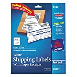 Avery Inkjet Shipping Labels with Paper Receipts, 5.5 x 8.5 Inch, White, Pack of 25 Labels with 25 Receipts (8127)