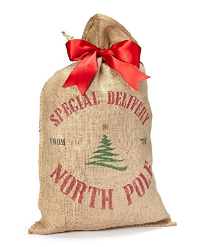 Burlap Santa Sack Christmas Present Bag Wrapping - Tree