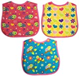 Neat Solutions 3 Pack Printed Interlock/ Water Resistant Feeder Bib, Girl