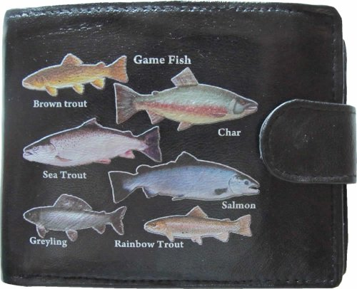 Game Fish Fishermans Anglers Black Soft Leather Wallet Printed Picture