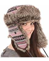 New Mens Womens Unisex Fur Fairisle Check Trapper Warm Winter Thermal Hat A835
