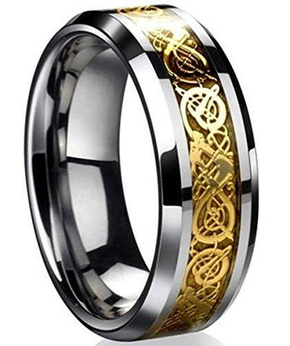Tanyoyo Dragon Scale Dragon Pattern Beveled Edges Celtic Rings Jewelry Wedding Band for Men Golden (7) (Stainless Steel Rings For Men compare prices)