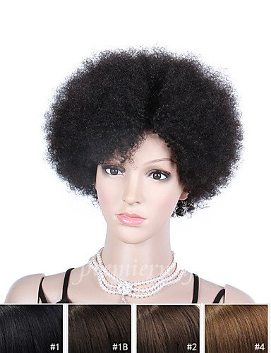 Wigs have an attractive convenience fashion 8'' Natural Color Short Kinky Curly Brazilian Virgin Human Hair Wigs For Black Women Glueless Cap With Adjustable Strap