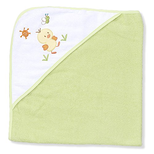 Spasilk 100% Cotton Hooded Terry Bath Towel, Green Duck