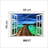 Natural Scenery Bridge Sea 3D Window Decal Home Decor View Removable Wall Art Sticker Vinyl Wallpaper^as the picture.