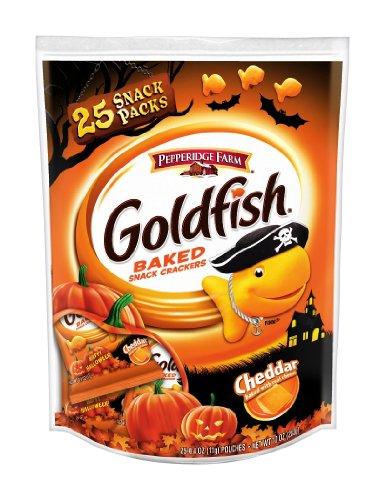 Pepperidge Farm Goldfish Crackers Halloween Snack Packs, Cheddar, 0.4 Ounces (Pack of 25)