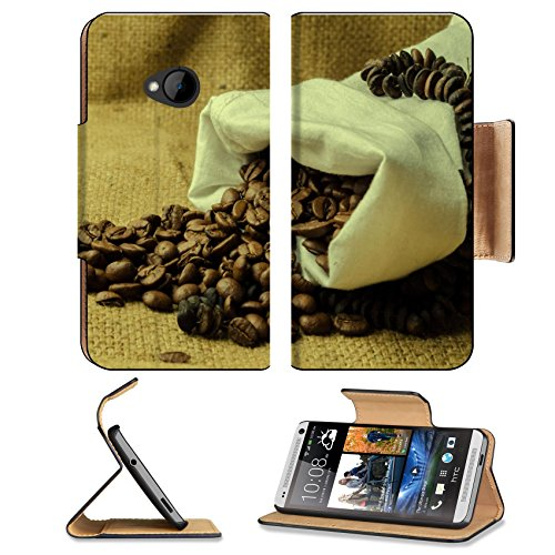 Coffee Beans In Burlap Sack 3Dcom Htc One M7 Flip Cover Case With Card Holder Customized Made To Order Support Ready Premium Deluxe Pu Leather