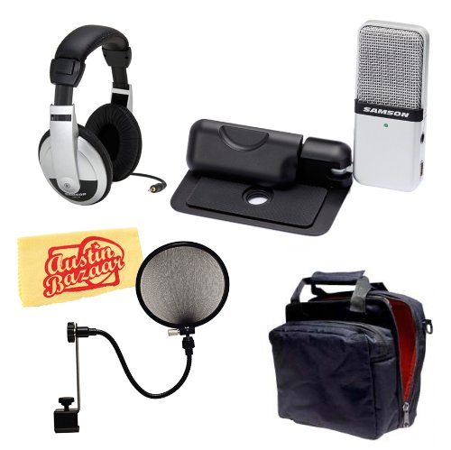 Samson Go Mic Portable Usb Condenser Microphone Bundle With Mic Bag, Headphones, Pop Filter, And Polishing Cloth