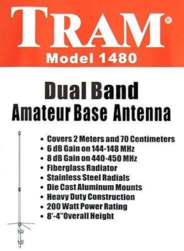 TRAM 1480 Dual Band Ham Radio 144/440 Vertical Base Antenna w/ 3 Yr Warranty