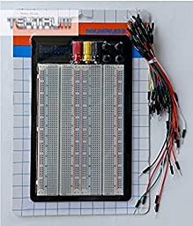 TEKTRUM UNIVERSAL SOLDERLESS 1660 TIE-POINTS EXPERIMENT PLUG-IN BREADBOARD WITH ALUMINUM BACK PLATE AND JUMPER WIRES FOR PROTO-TYPING CIRCUIT/ARDUINO