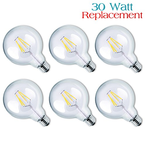 Luxrite LR21236 (6-Pack) 4W G25 LED Filament Globe Light Bulb, Equivalent to 30W Incandescent G25 Light Bulb, Warm White 2700K, 350 Lumens, E26 Medium Base (Led Globe Lights Small Base compare prices)