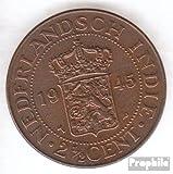 Neerlandés oriente-India km-No.. : 316 1945 muy ya Bronce 1945 2 1/2 Cents escudo de armas (monedas para los coleccionistas)