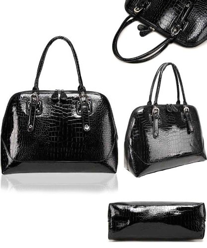 Crocodile Print Computer Handbag - Black