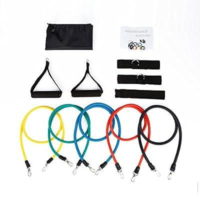 OUTAD Widerstandsbänder Fitnessbänder Yogagurte Strap Belt Body-Tube 100 % Naturlatex beschichtete Röhren Ideal für Heimfitness, Yoga, Pilates -11-teiliges Set