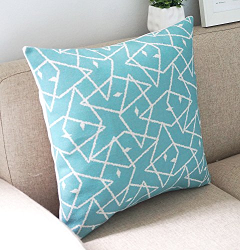 Howarmer Square Cotton Linen Teal and Turquoise Decorative Throw Pillow Cover Set of 4 Blue ...