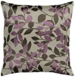 "Surya HH-062 Hand Crafted 88% Polyester / 12% Polyamide Plum 18"" x 18"" Floral Decorative Pillow"
