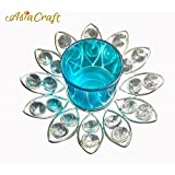 AsiaCraft ® Diwali Gift T-light Candles Holder(Blue, Glass)