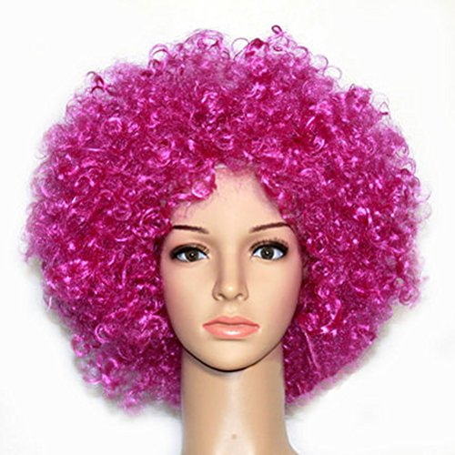Party Cosplay Quirky Wig Periwig Wild-curl up Curly Clown Costumes, Rose-red