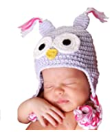 Melondipity Girls I'm a Hoot Owl Baby Hat -Purple Crochet Beanie with Pink, White