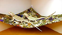 Hammock for Bearded Dragons, Butterflies and Leaves fabric with suction cup hooks